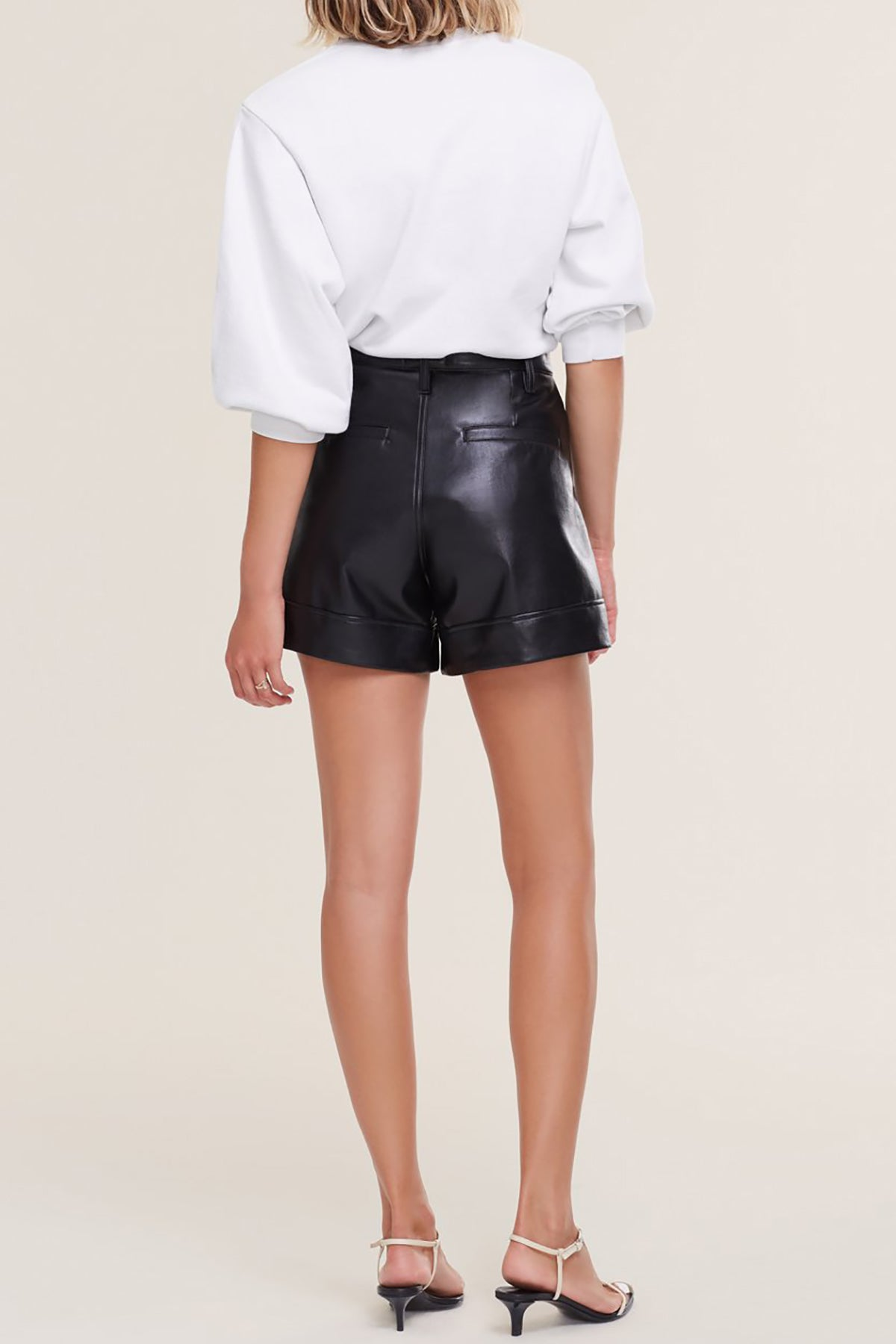 Recycled Leather Angle Hem Short