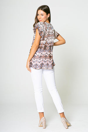 Short Sleeve Vneck Printed Top
