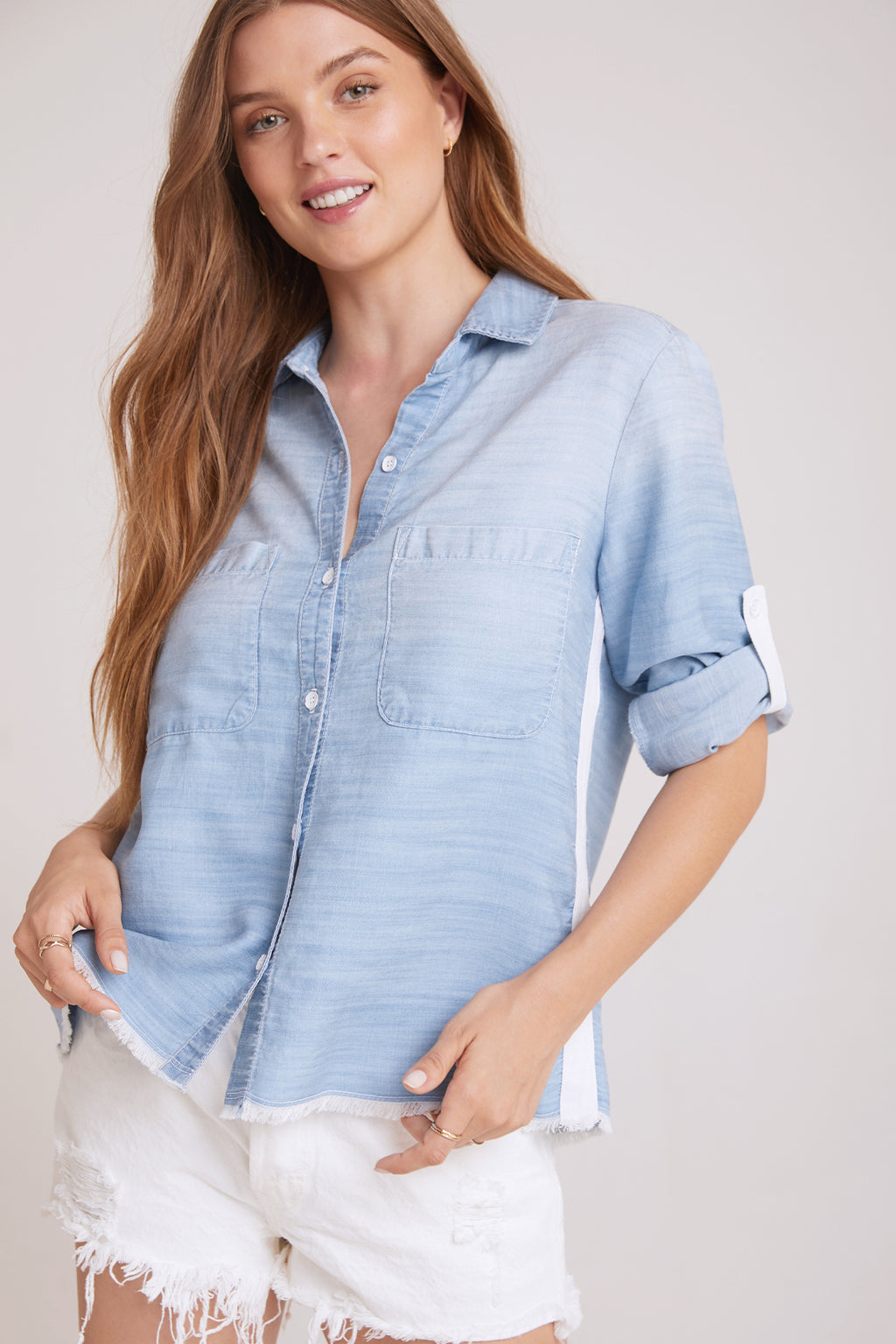 Two Pocket Fray Button Down