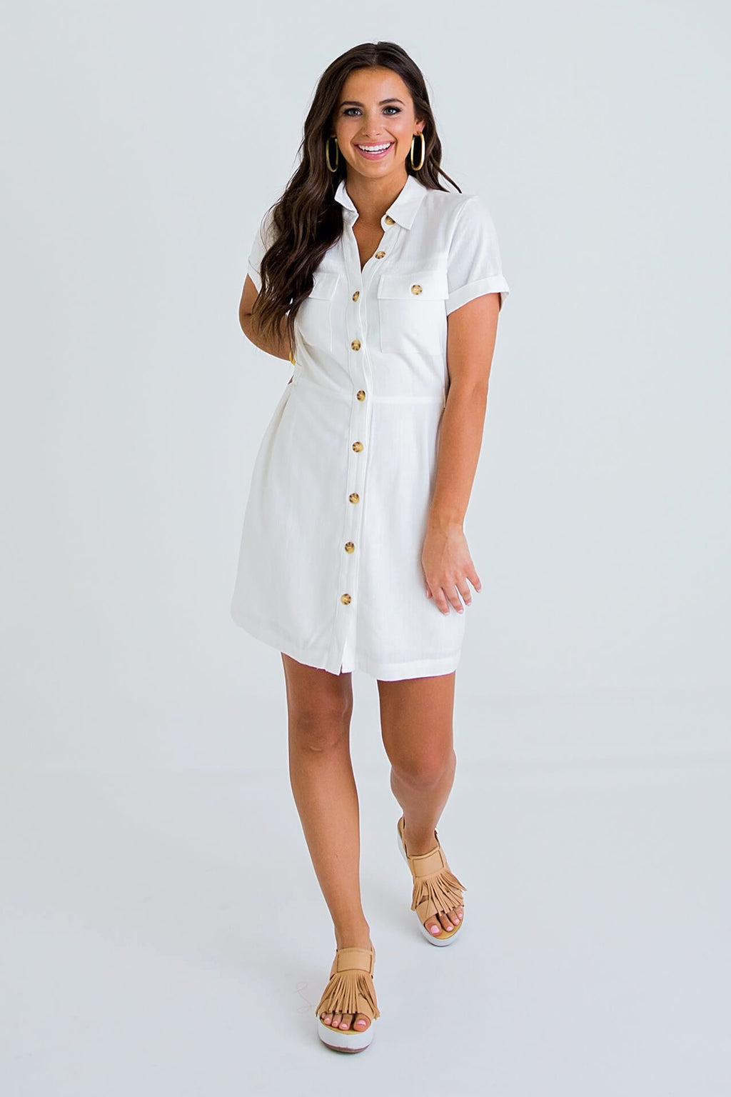 Linen Pocket Button Shirt Dress