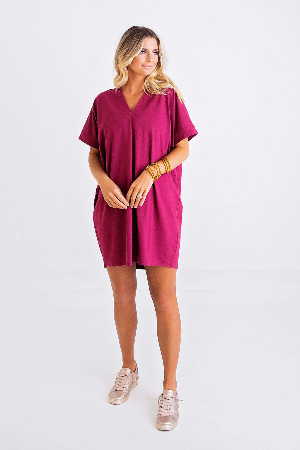Solid Knit V-Neck Signature Dress