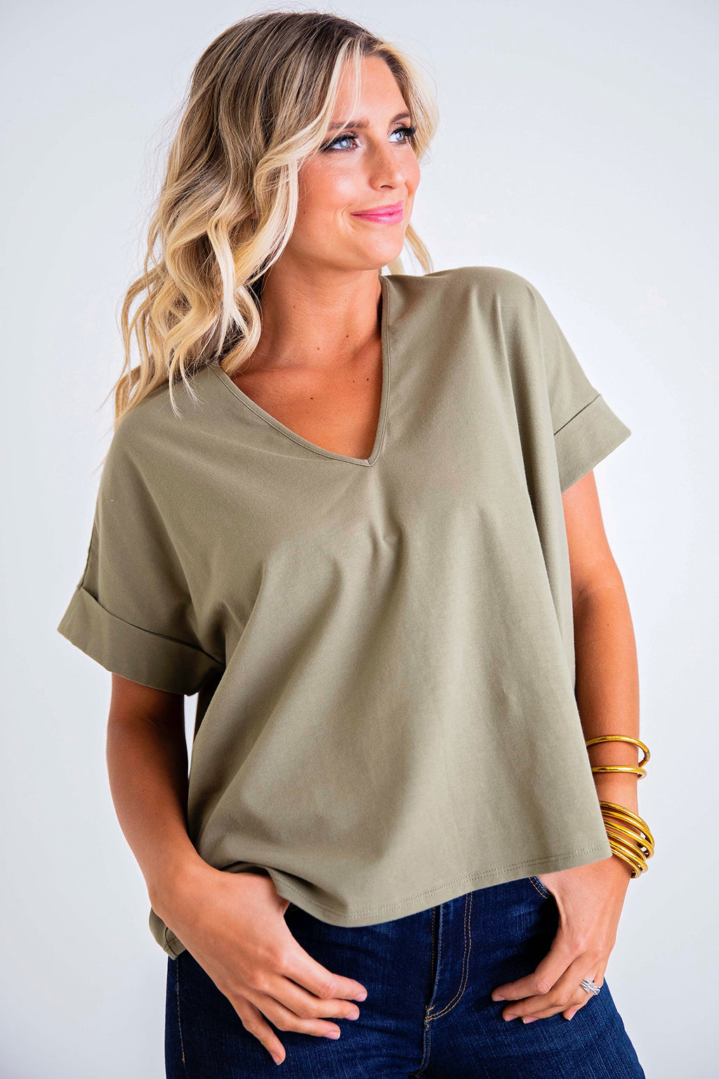 Solid Knit V-Neck Top