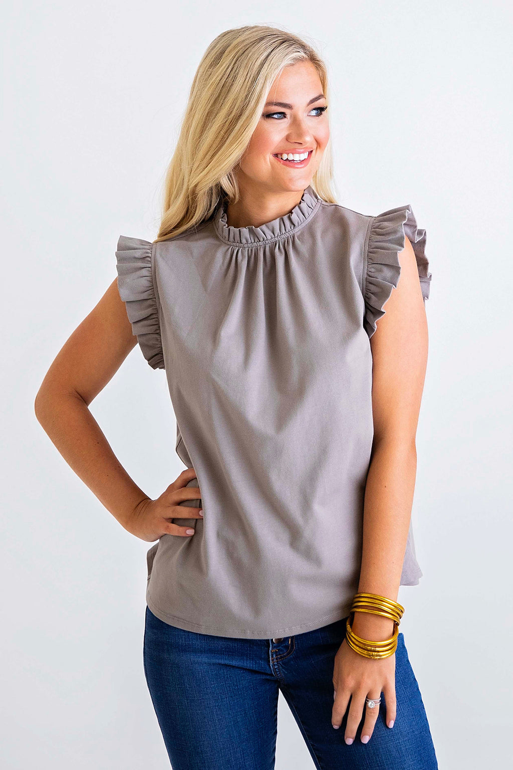 Solid Knit Ruffle Sleeveless Top