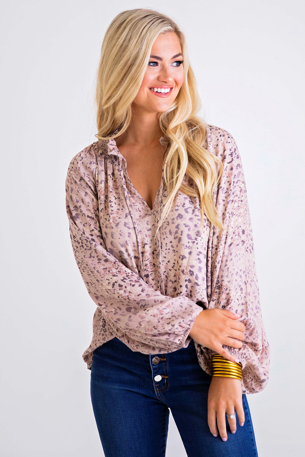 Leopard V-Neck Ruffle Long Sleeve