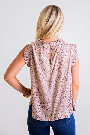 Leopard Ruffle Sleeveless Top