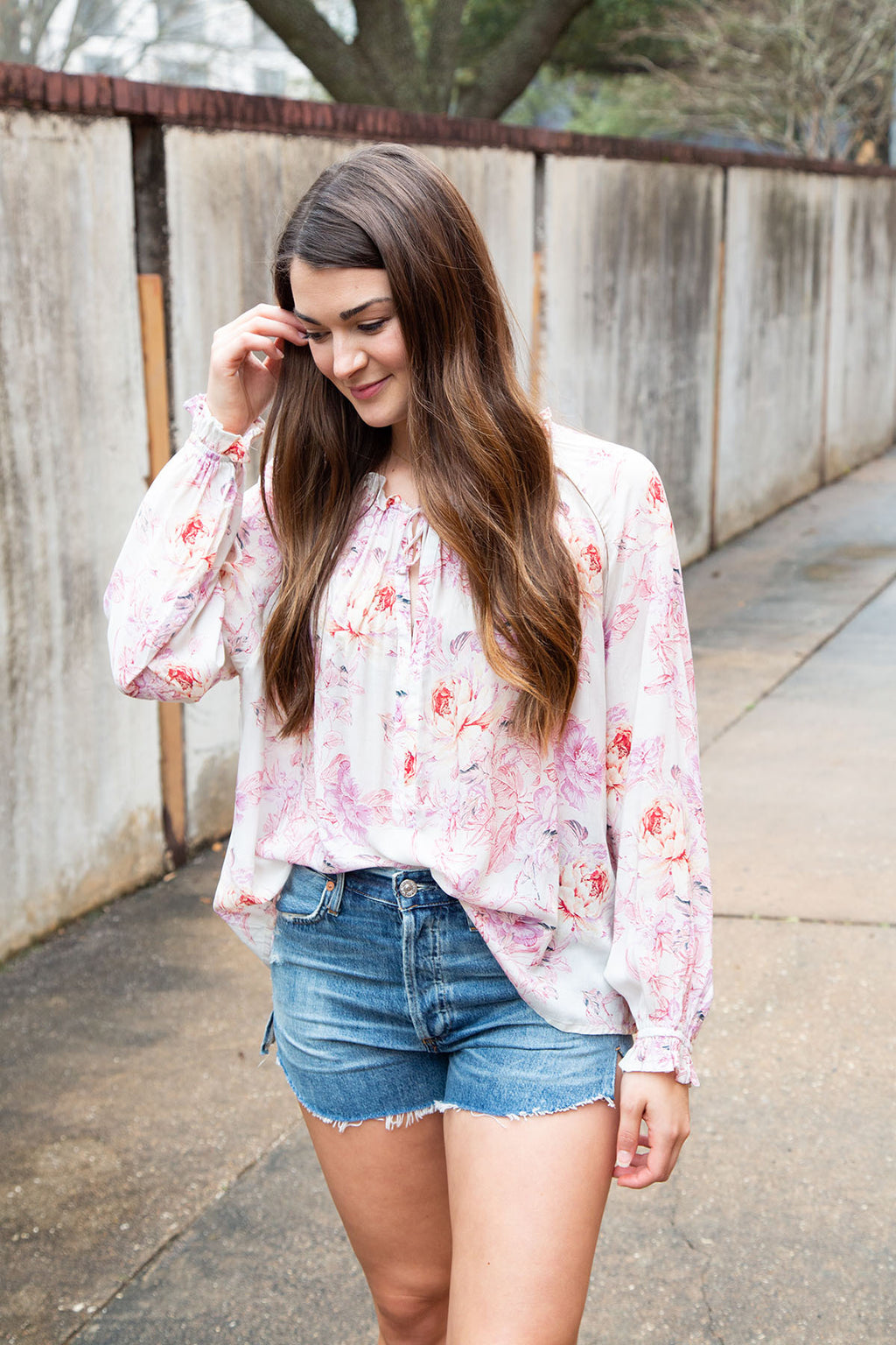 Tie Neck Flowy Floral Top