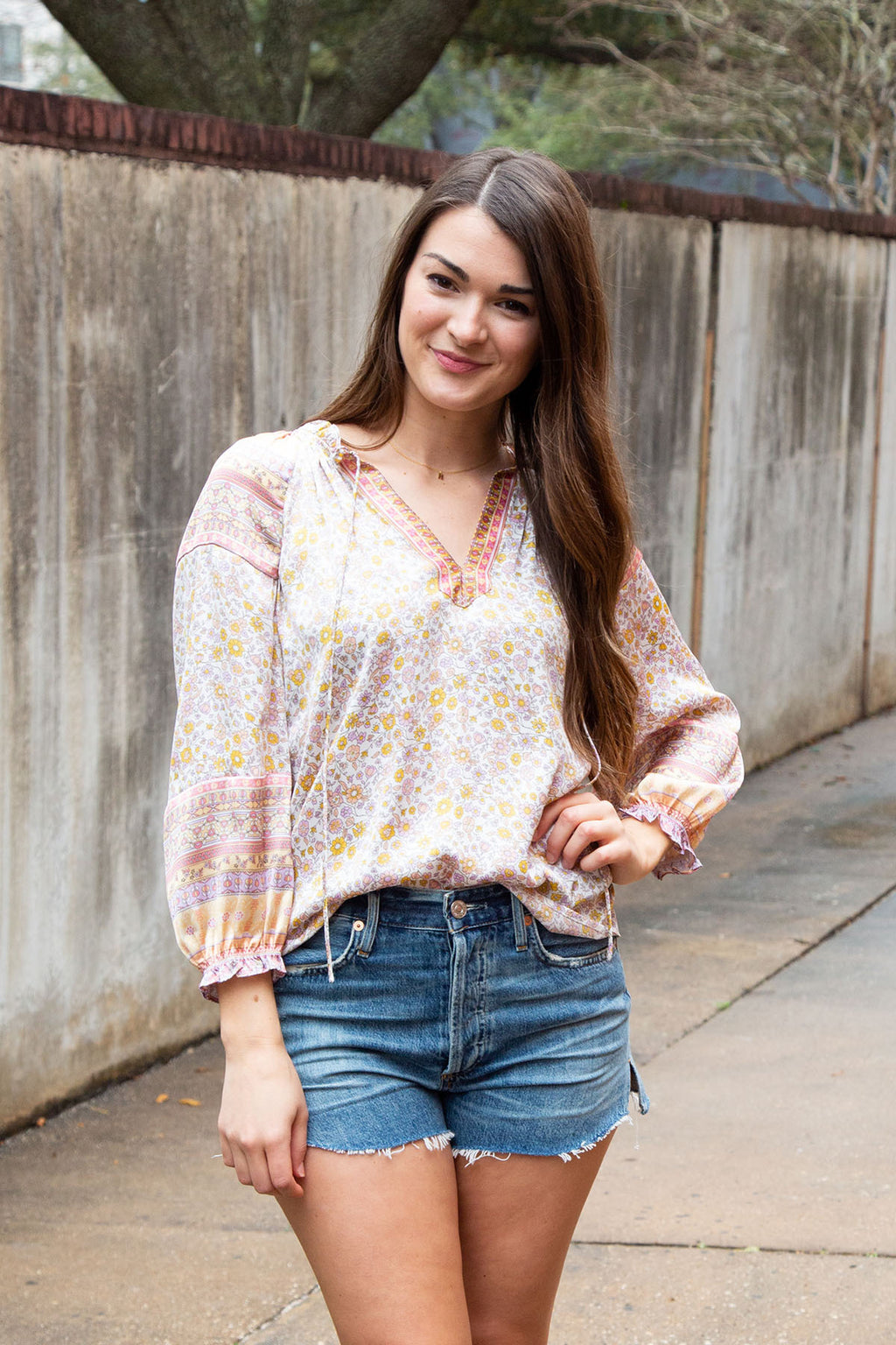 Ruffled Border Print Top