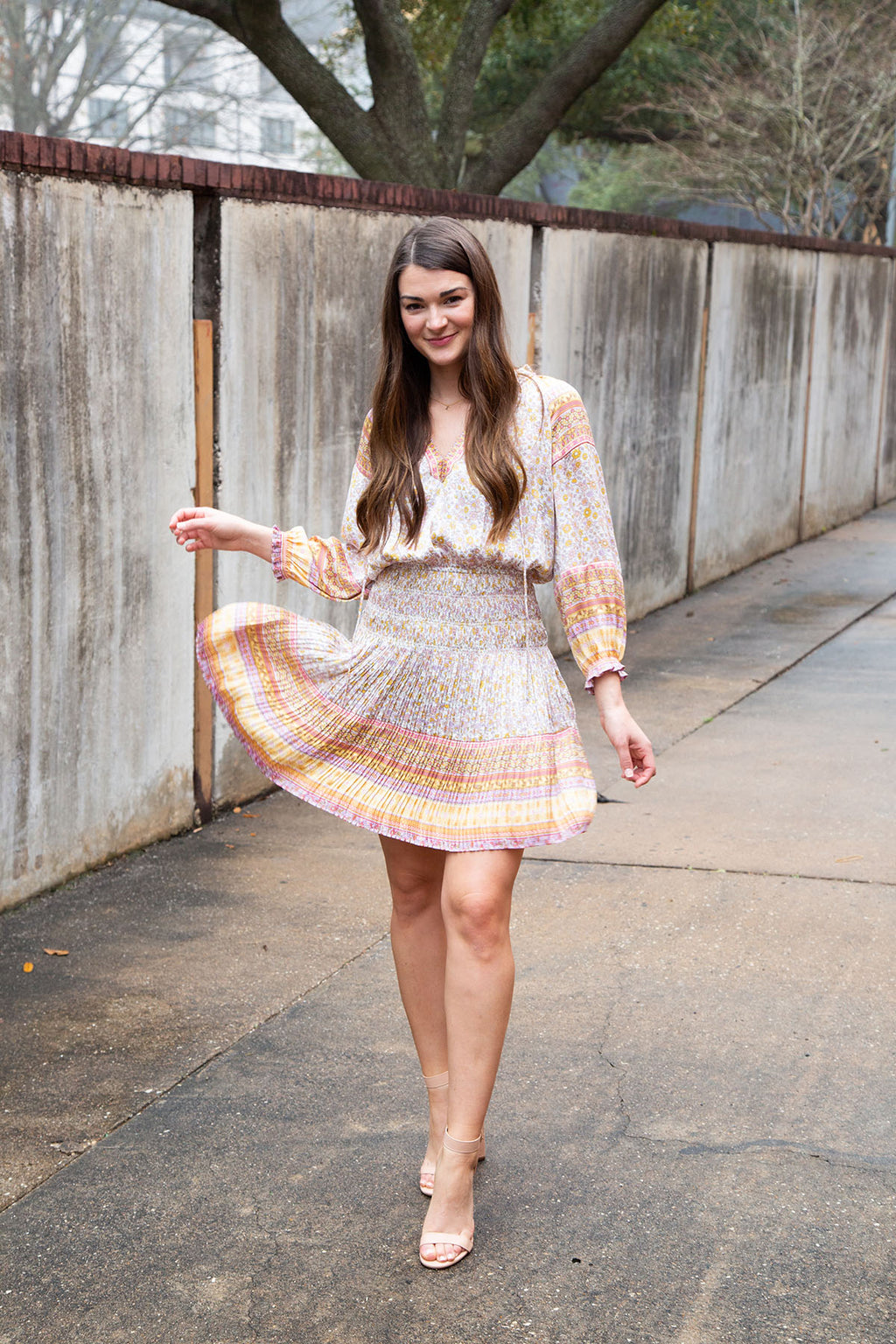 Ruffled Border Print Dress