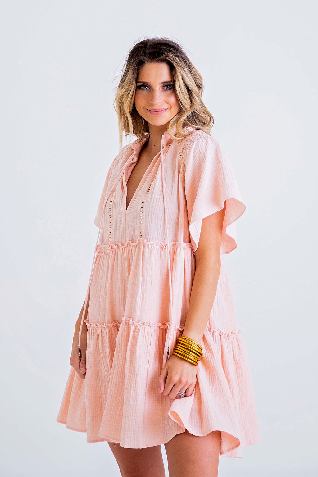 Solid Gauze V-Neck Boho Dress