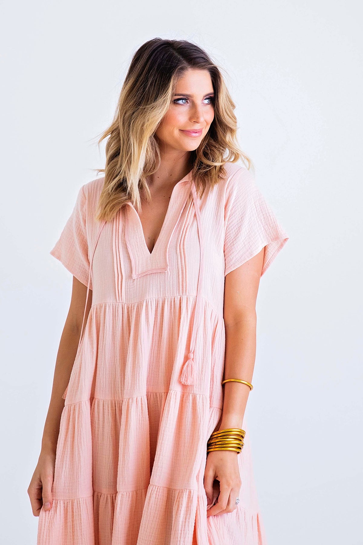 Solid Gauze Midi Boho Dress
