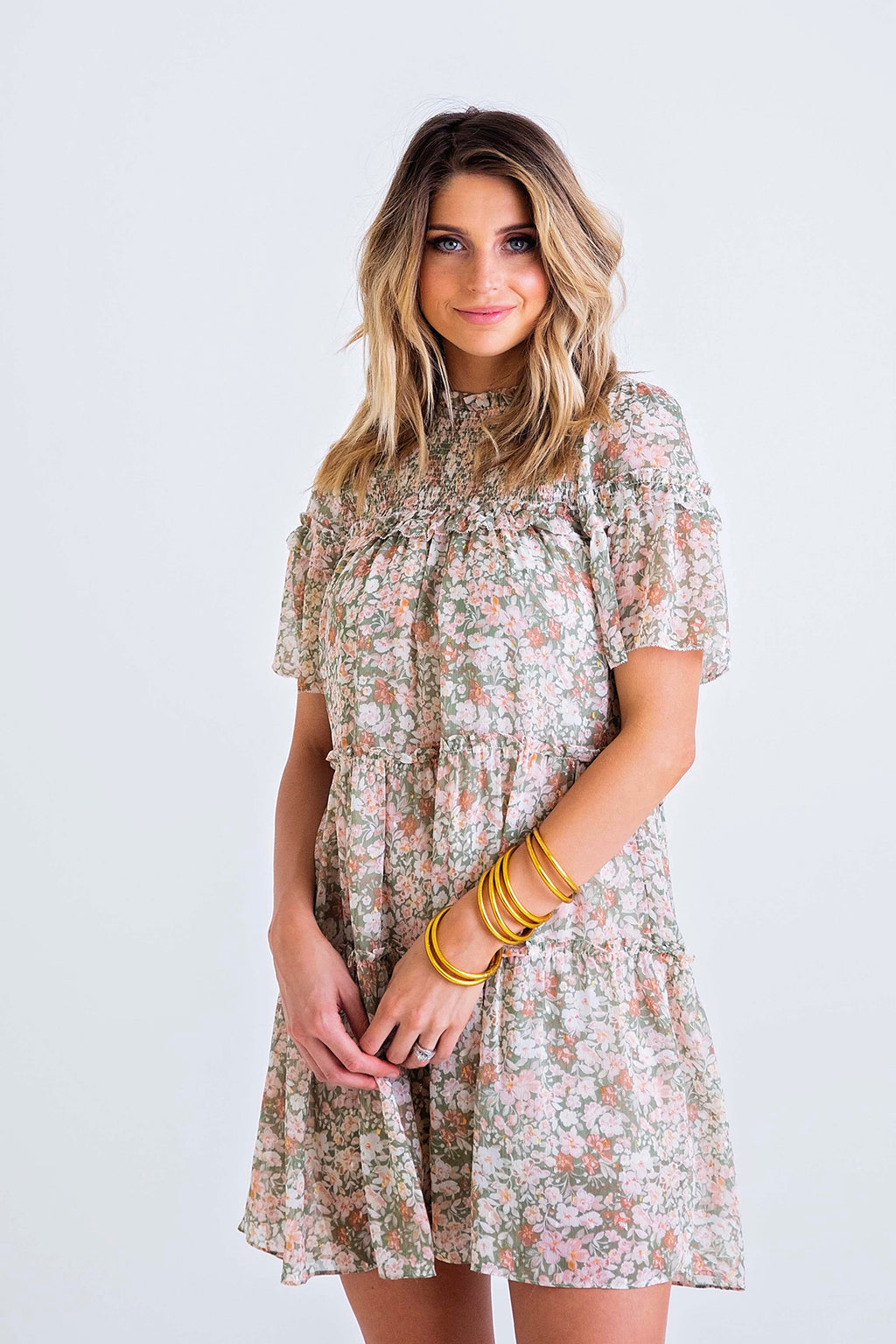 Floral Smock Top Tier Dress