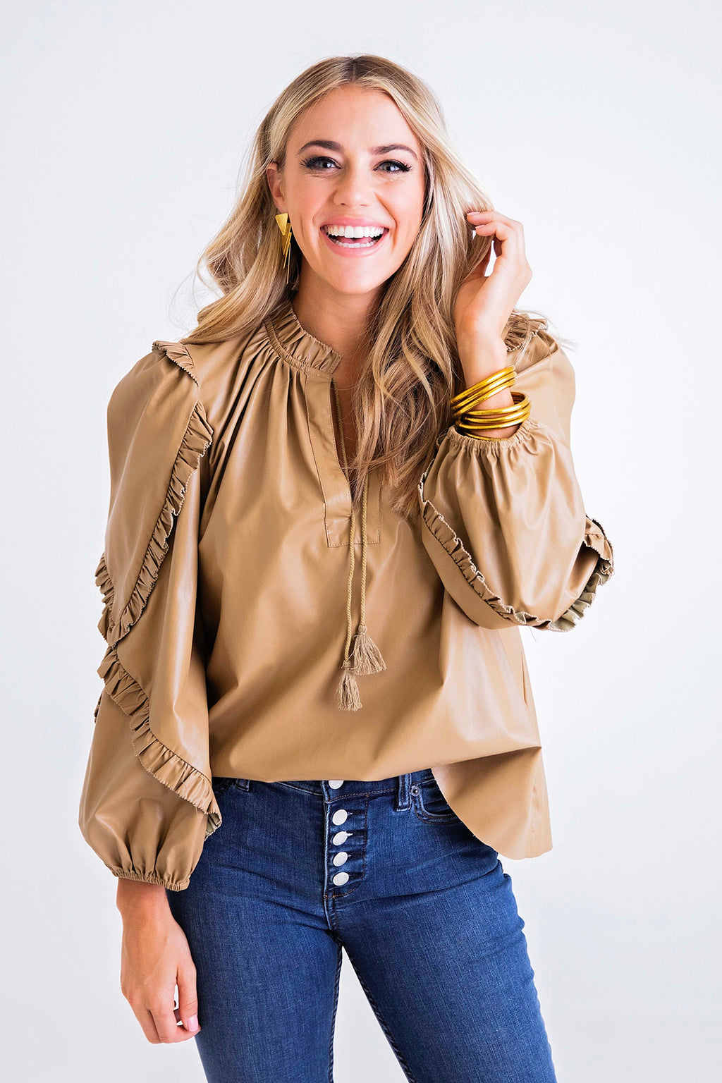 Solid Pleather Ruffle Sleeve