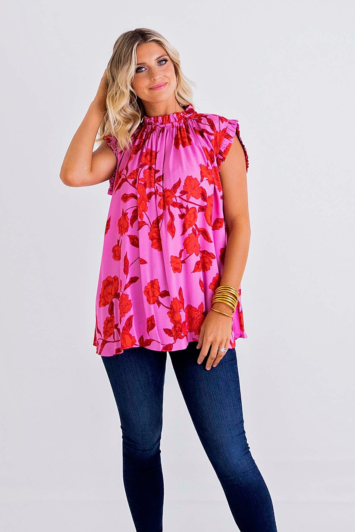Floral Ruffle Sleeveless Top
