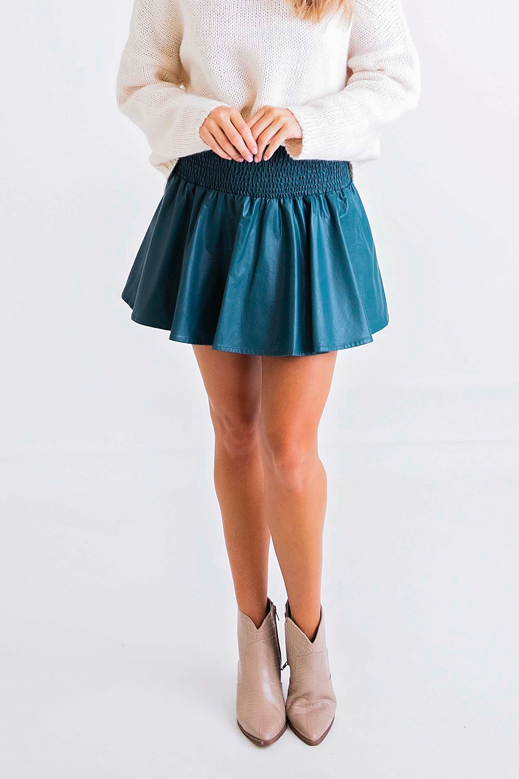 Solid Pleather Smocked Skort