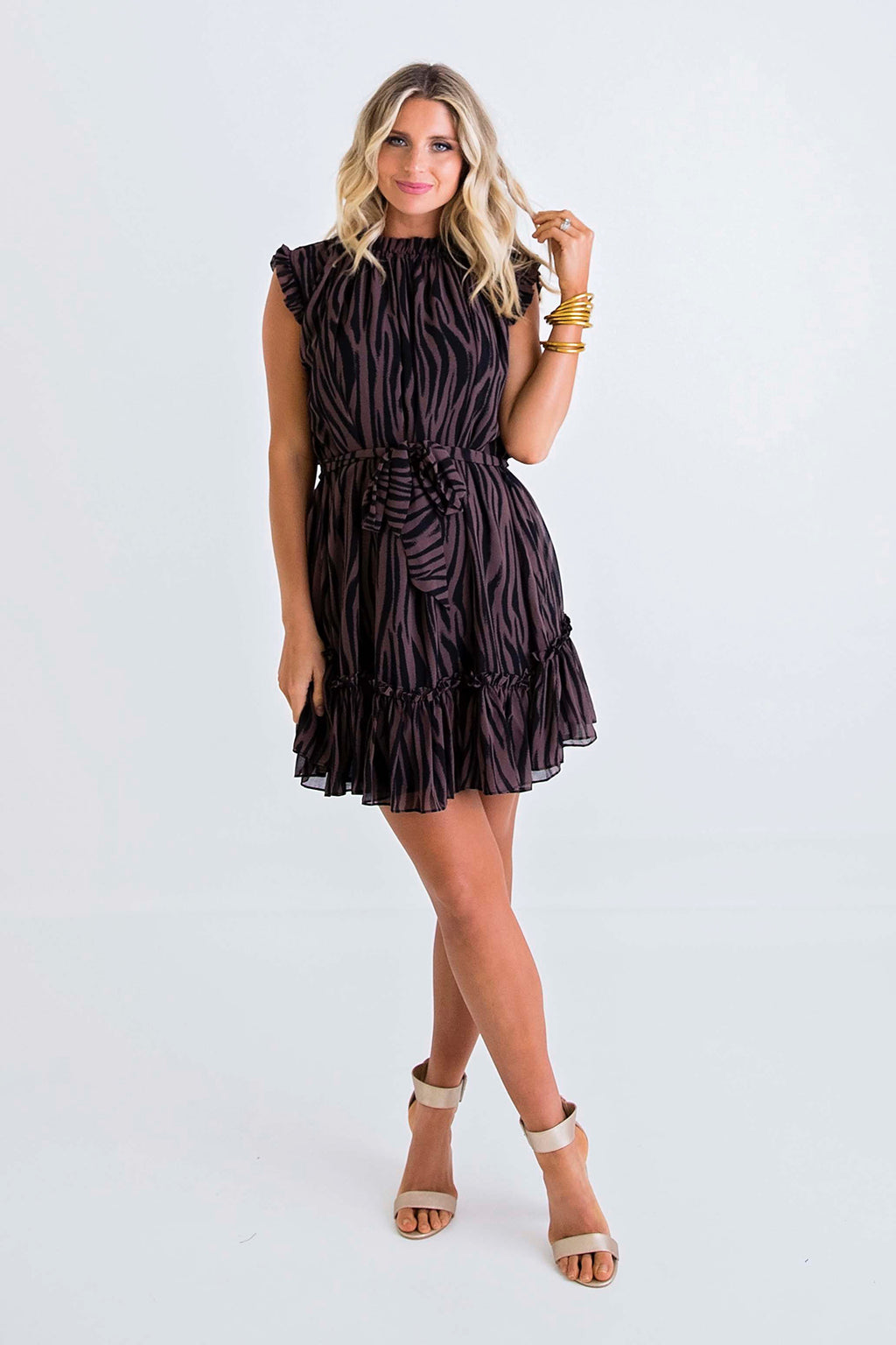 Zebra Chiffon Sleeveless Dress
