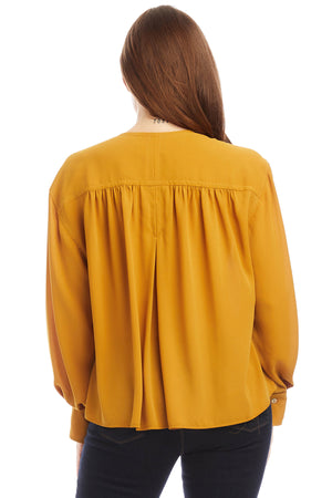 Shirred Blouson Sleeve