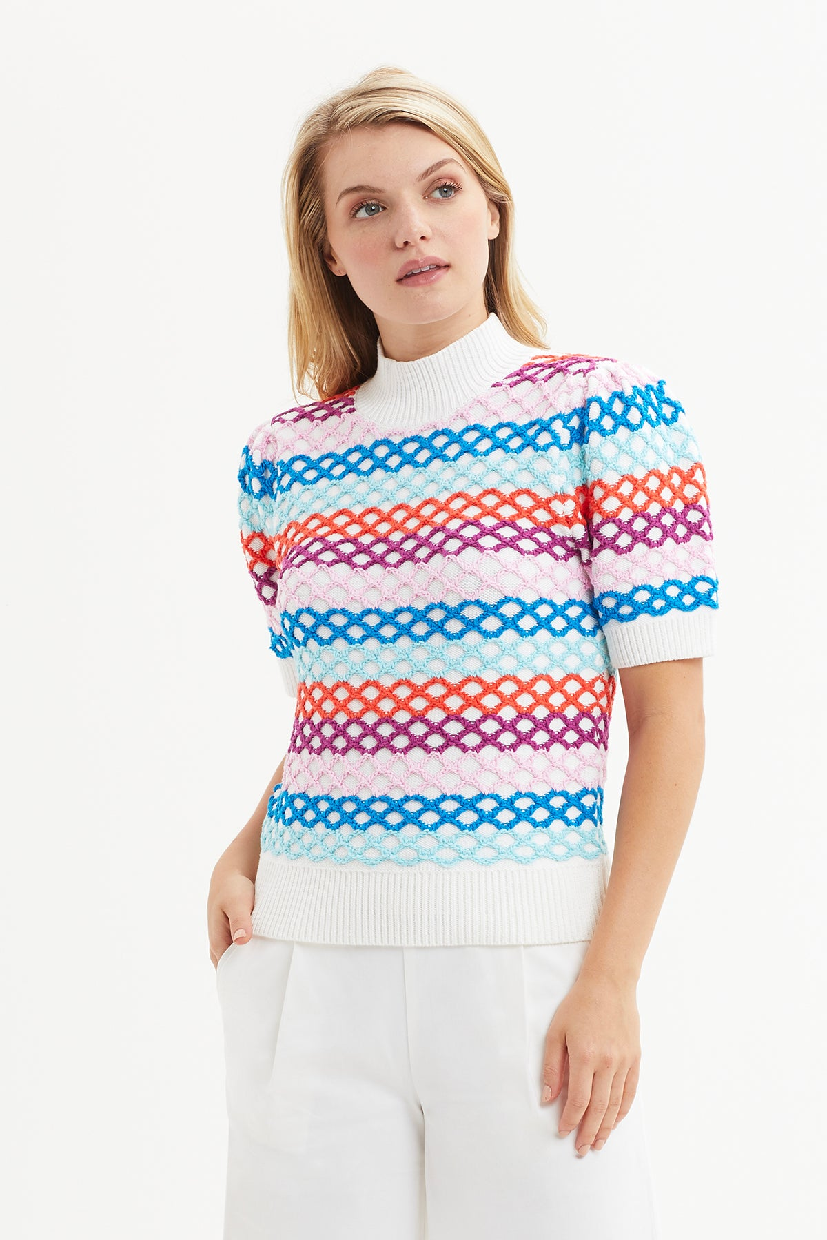Lattice Knit Multi Stripe
