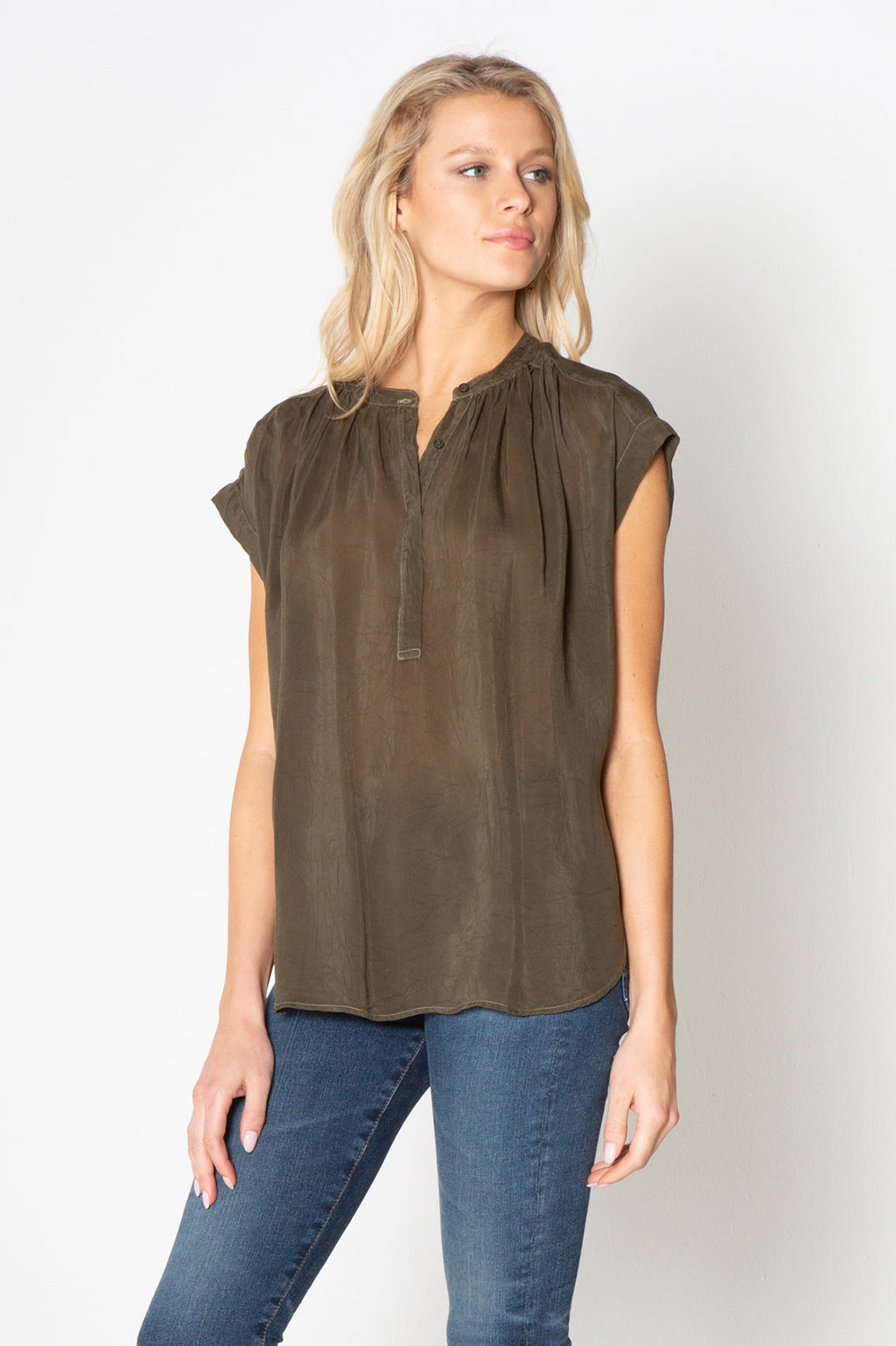 Short Sleeve Hidden Placket Top