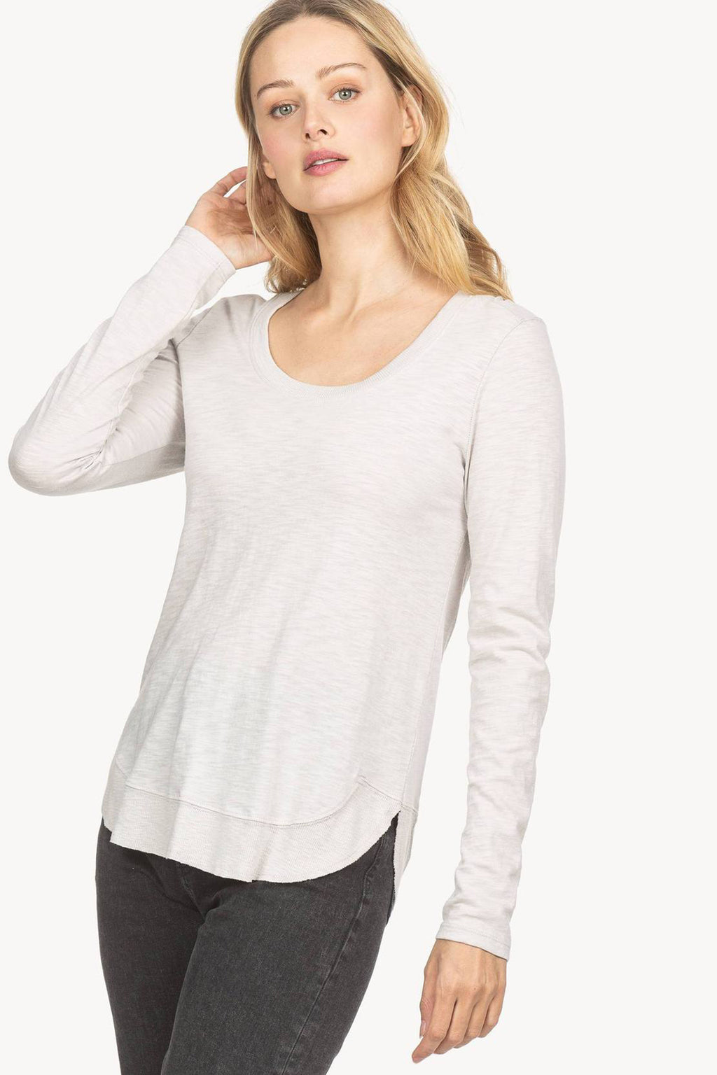 Rib Hem Scoop Neck Top