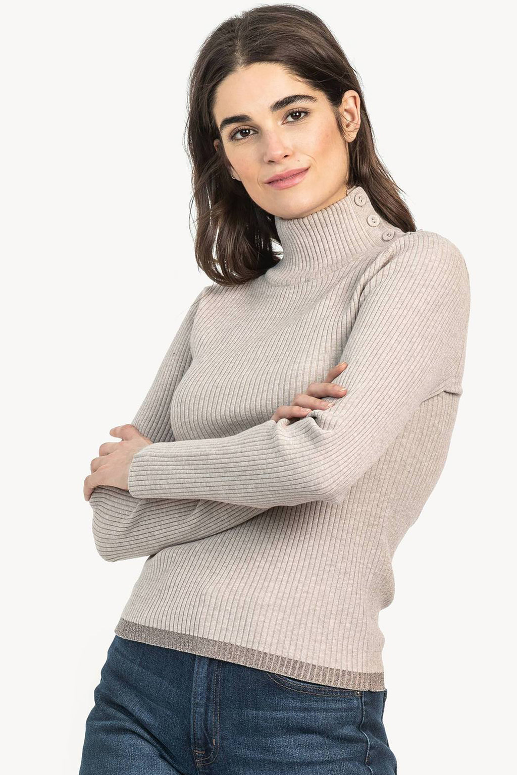 Button Turtleneck