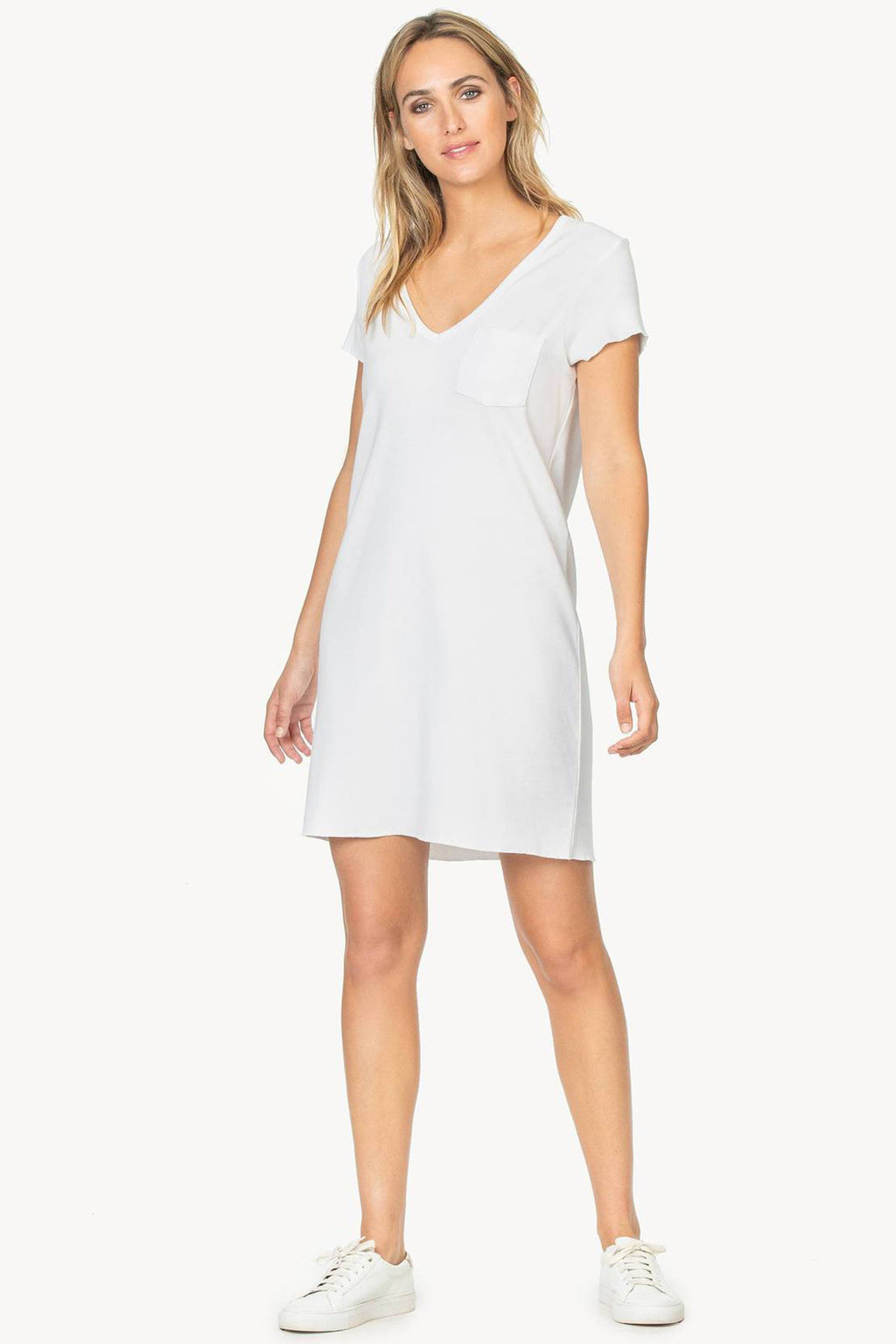 V-Neck Pocket Tee Dress