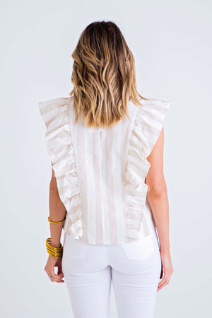 Stripe Linen Ruffle Sleeveless Top