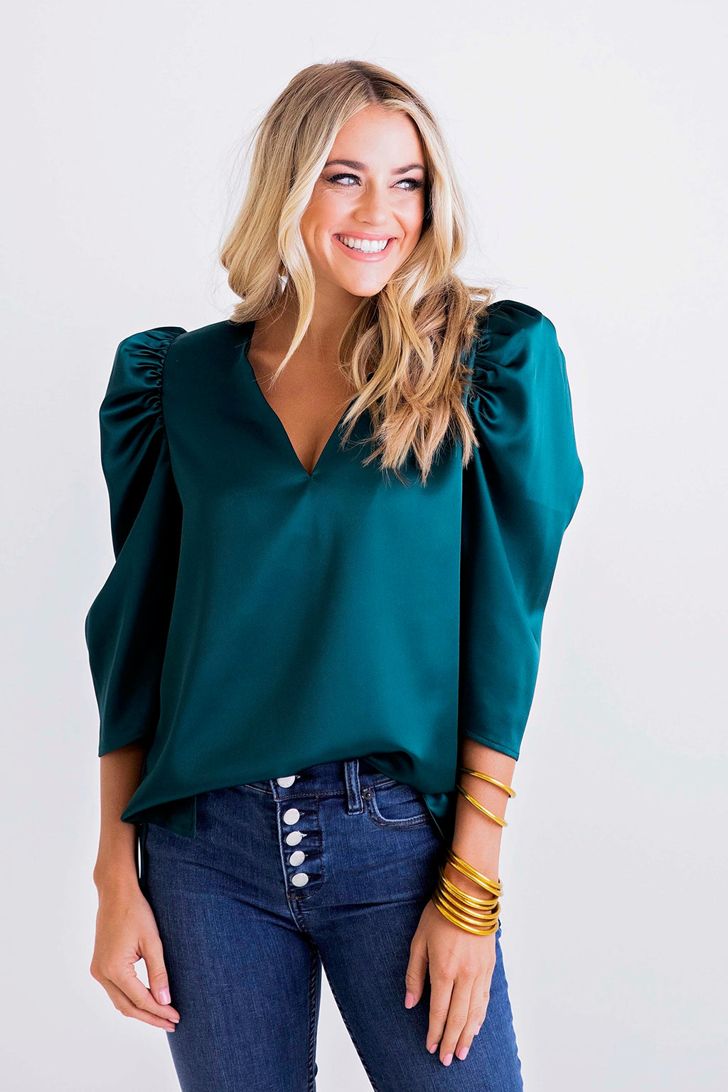 Solid V-Neck Puff Sleeve Top