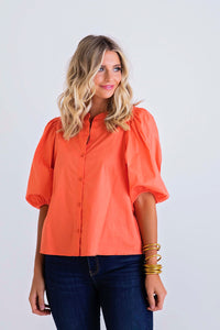 Solid Poplin Button Top