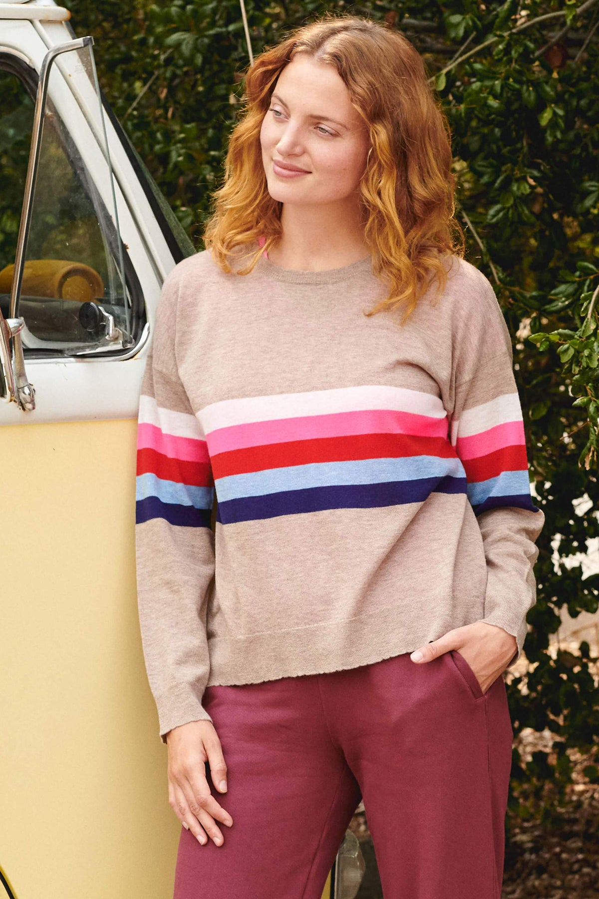 Thick Color Stripes Crew Neck