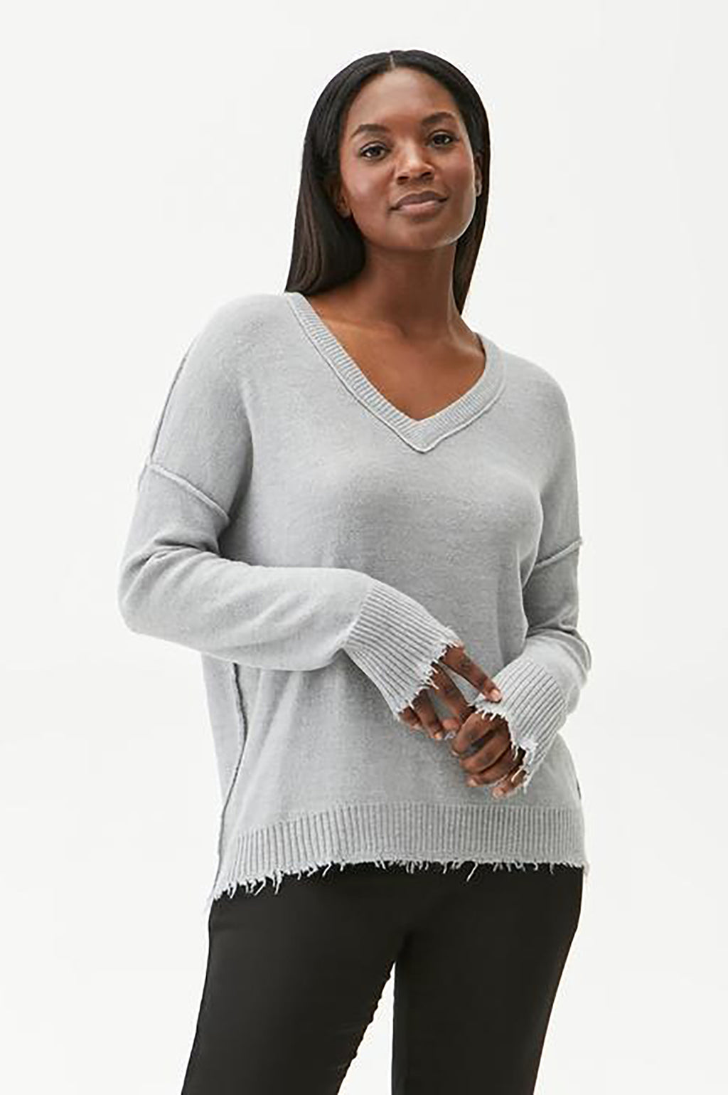 Arina V-Neck with Raw Edge