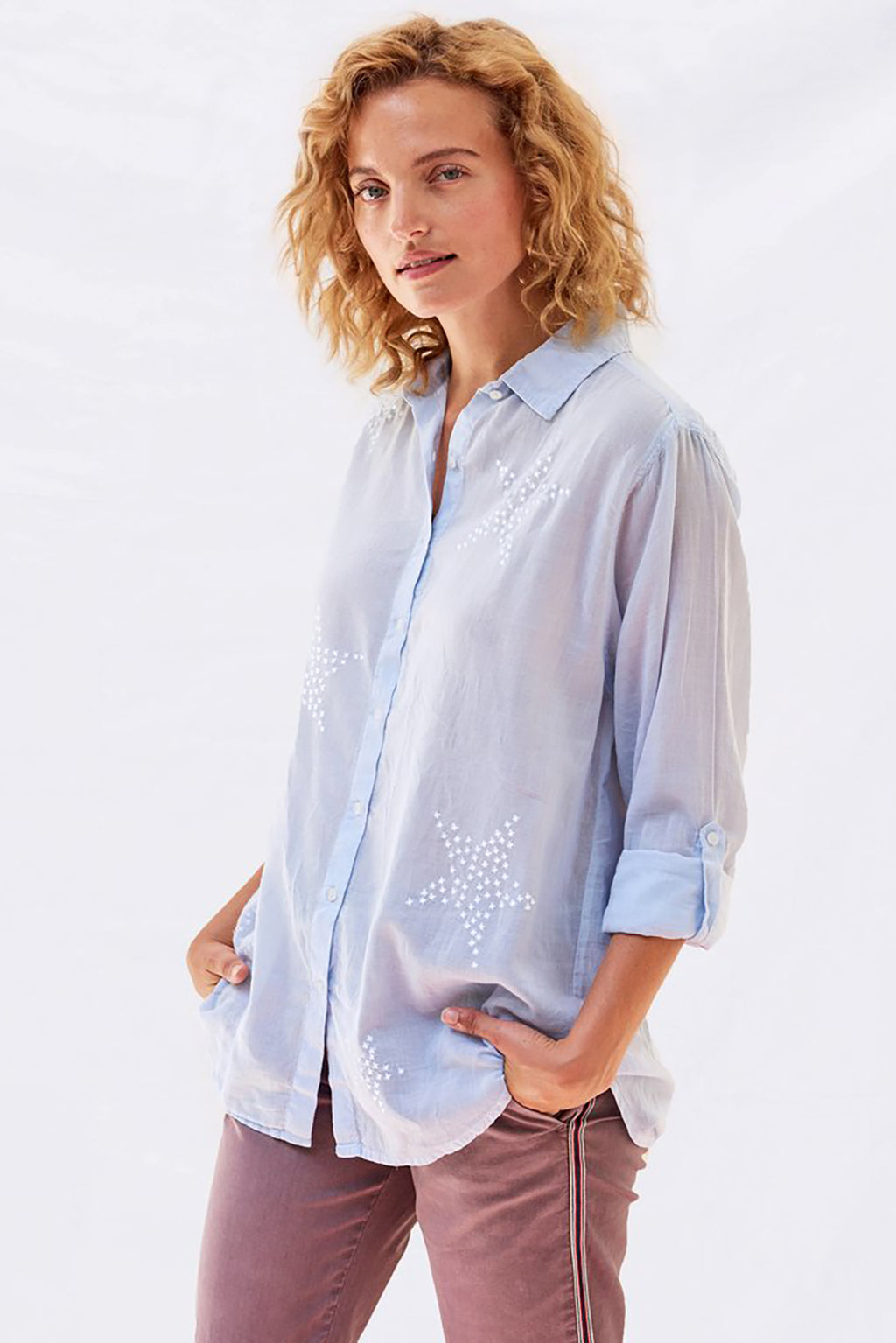 Stars Embroidered Oversize Shirt