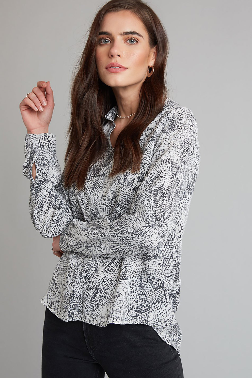 Button Down Shirt in Snakeskin