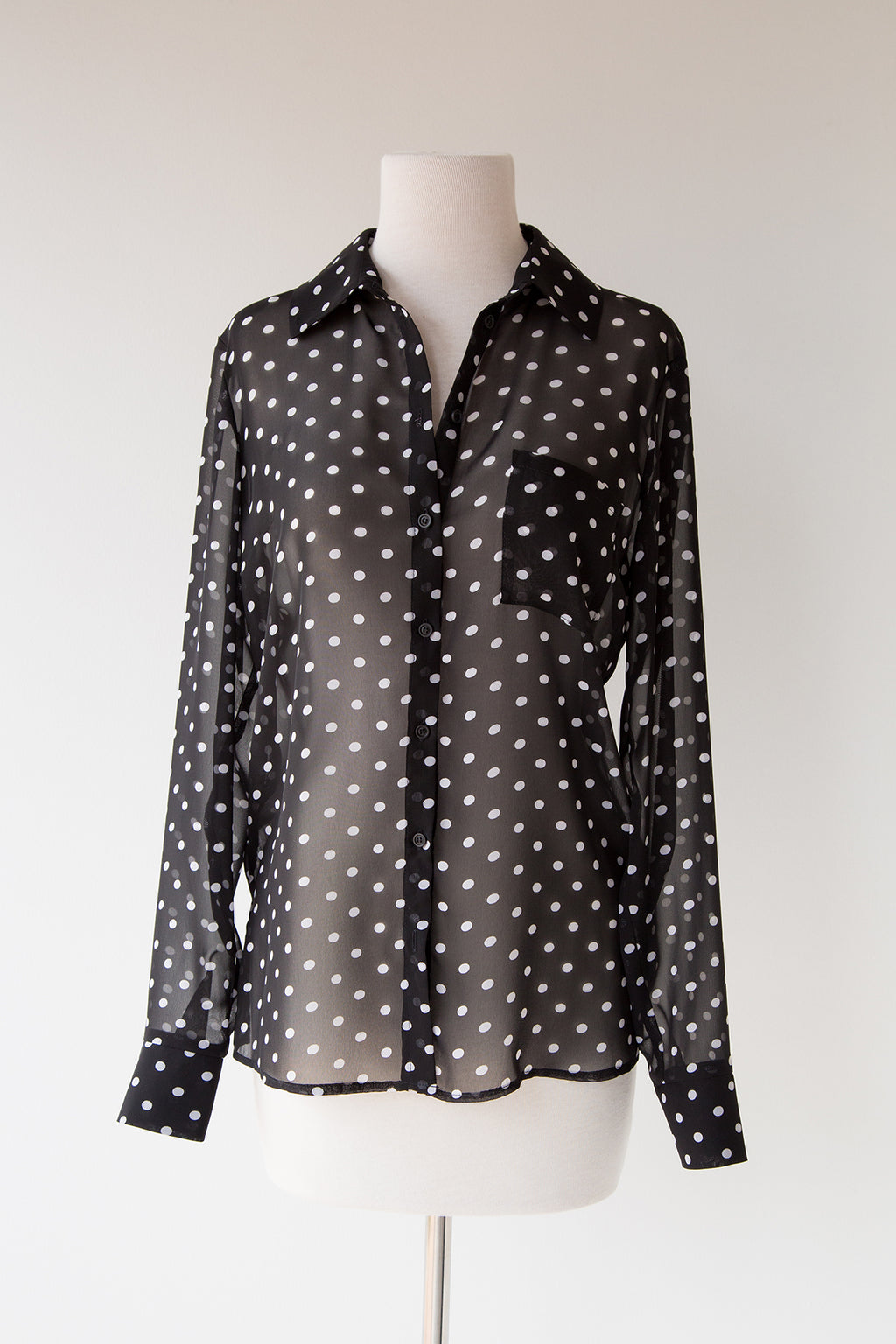 Polka Dot Button Front Top