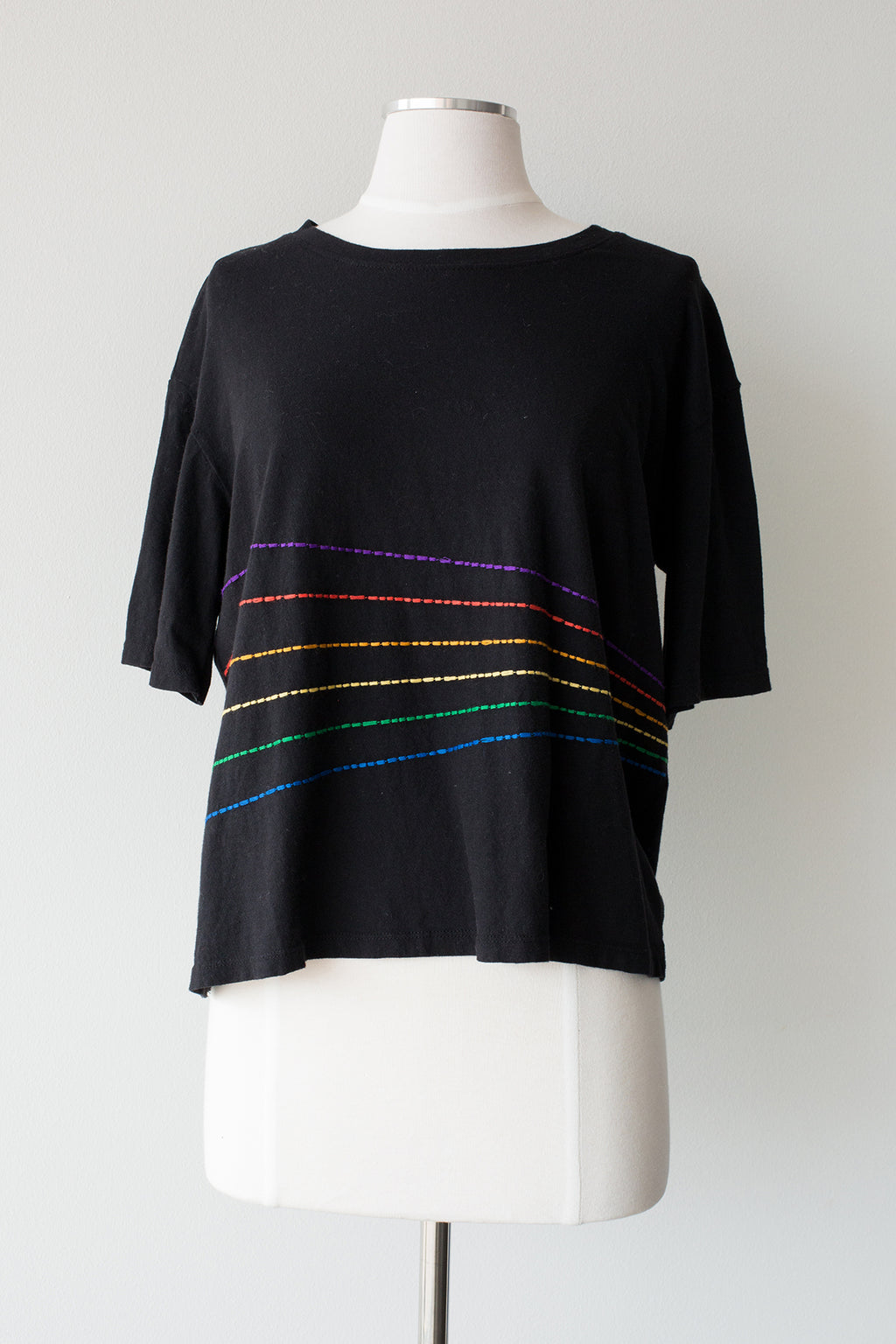 Rainbow Stripes Boxy Tee