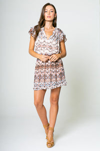 Short Sleeve Cinched Waist Printed Dress