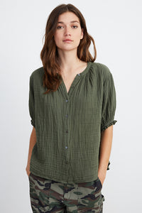 Olive Buttonfront
