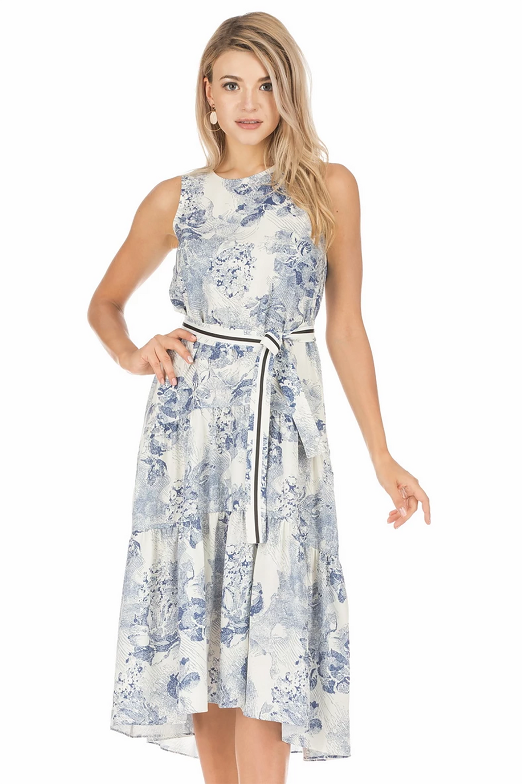 Blue Painting Tiered Dress