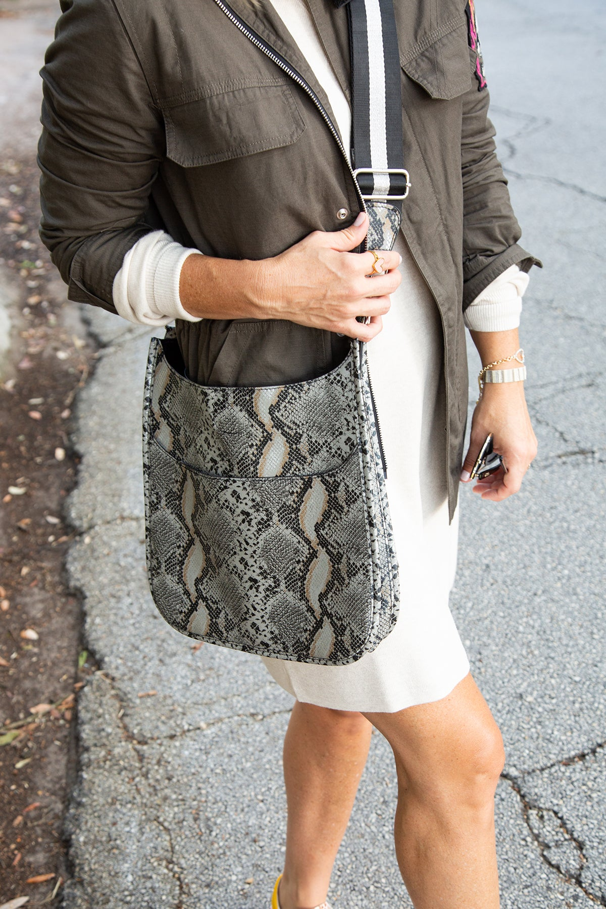 Faux Python Crossbody with Strap