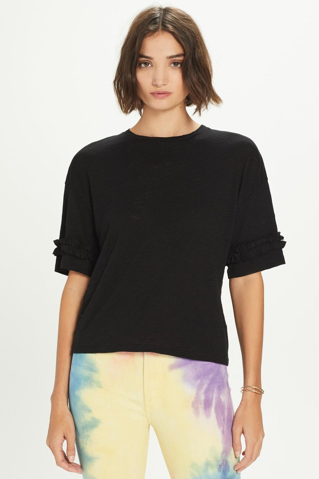Drop Shoulder Ruffle Tee