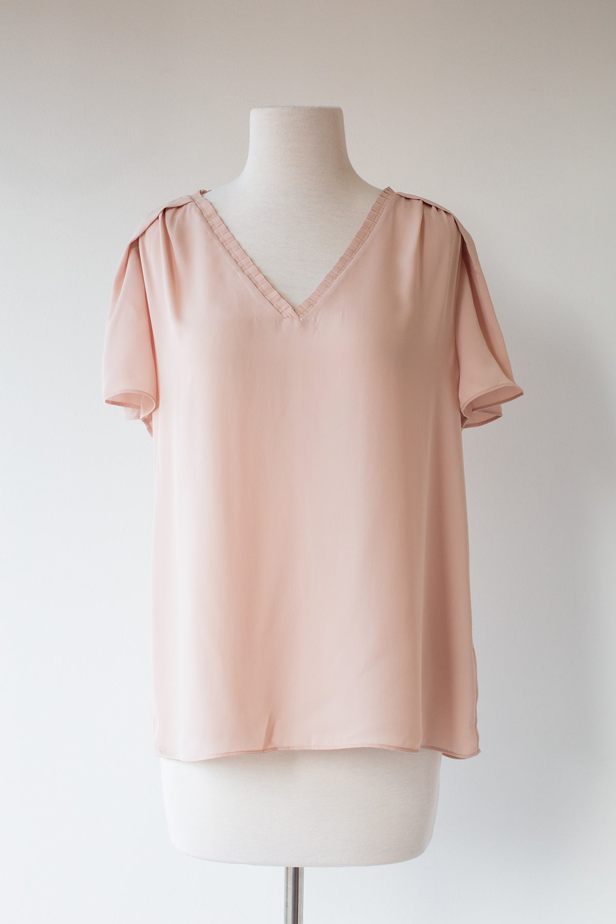Pleated V-Neck Top