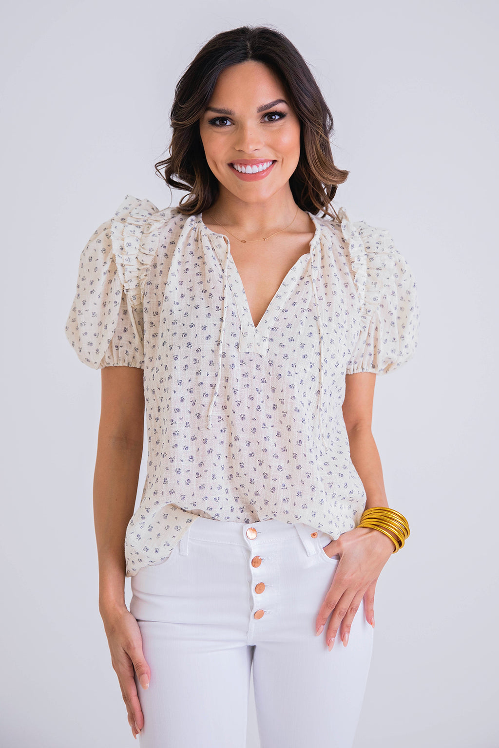 Floral Gauze Puff Slv Top