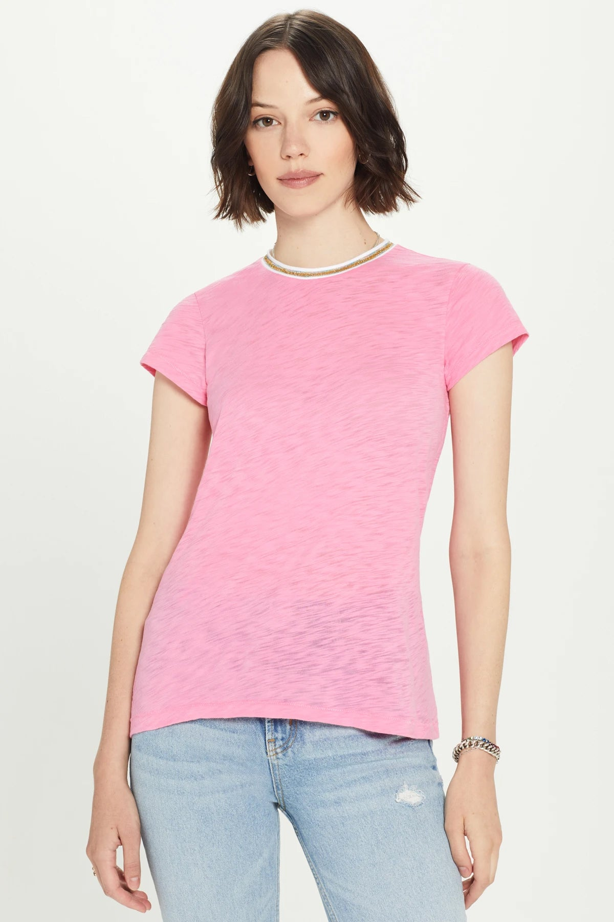 Metallic Tipped Short Sleeve Tee
