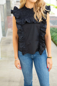 Poplin Smocked Ruffled Top