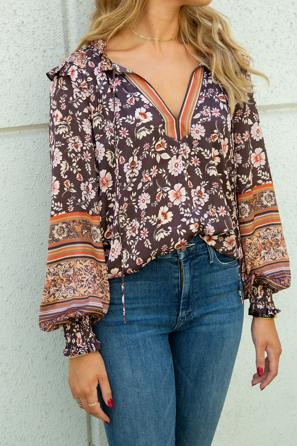 Border Floral Print Ruffled Top