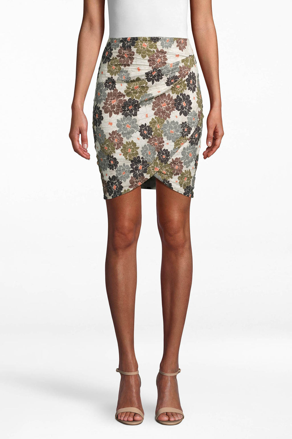 Faux Wrap Skirt Floral