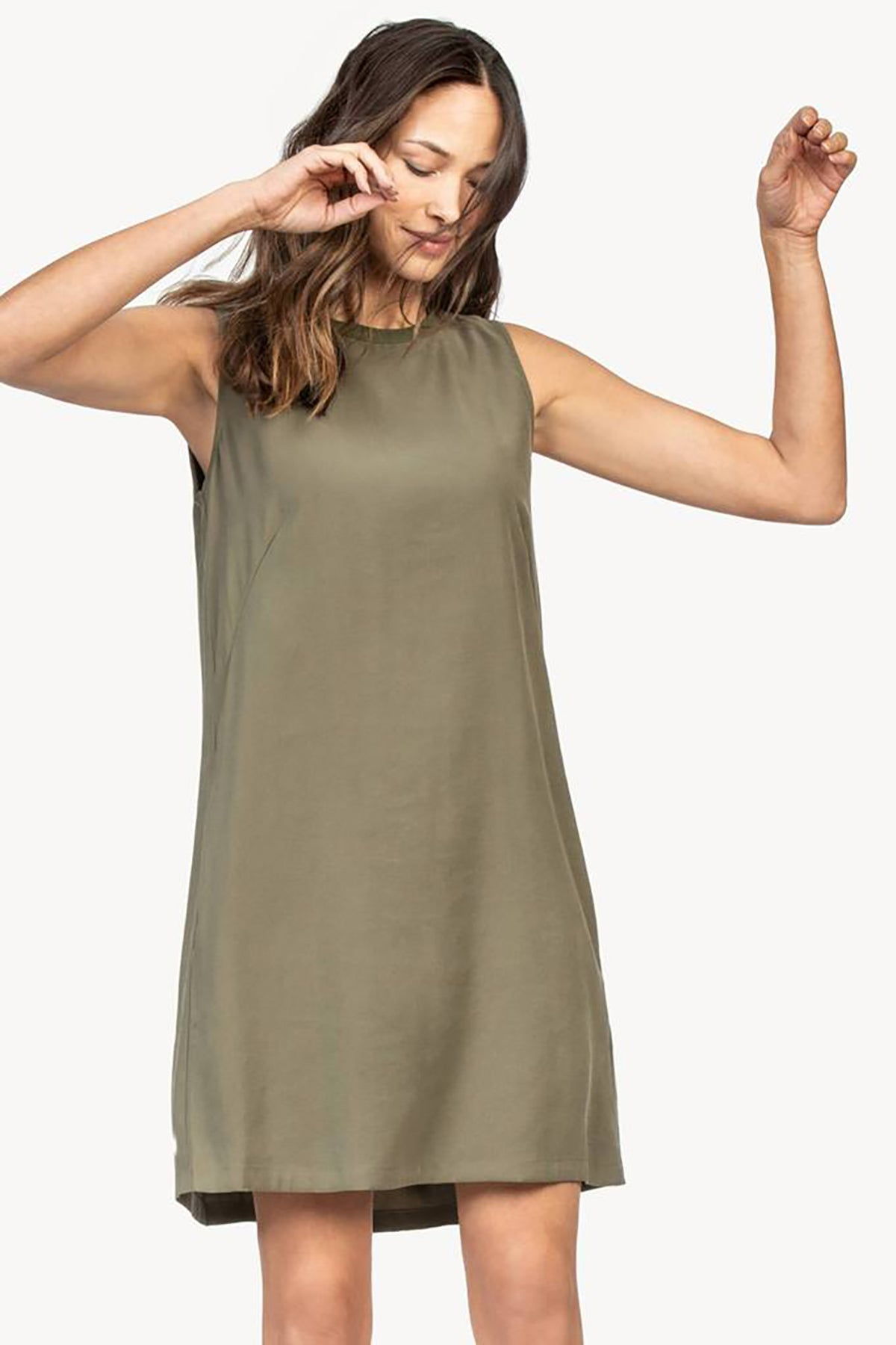 Pleat Back Sleeveless Dress