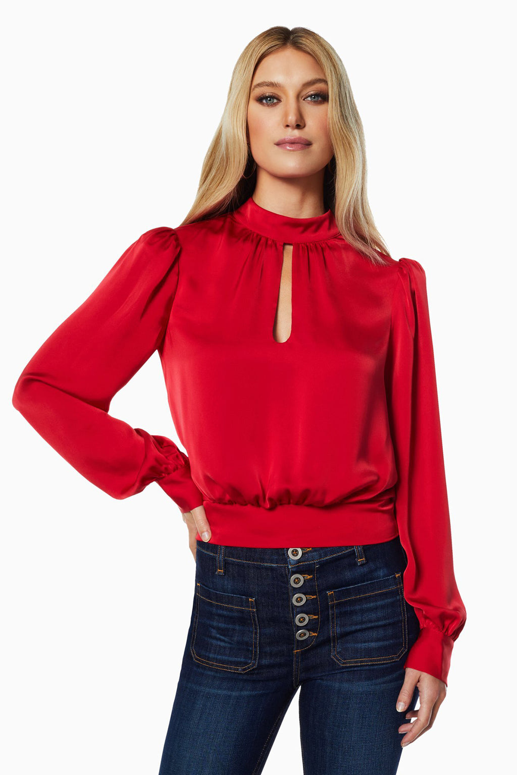 Angela High Neck Long Sleeve Top