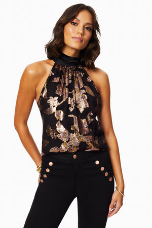 Jacqard Floral High Neck Top