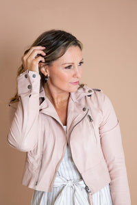 Erin Burnished Leather Crop Jacket
