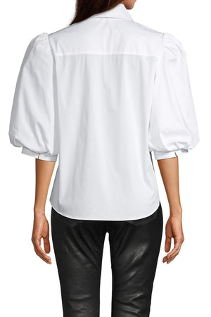 Cotton Poplin Tux Puff Sleeve Bloue